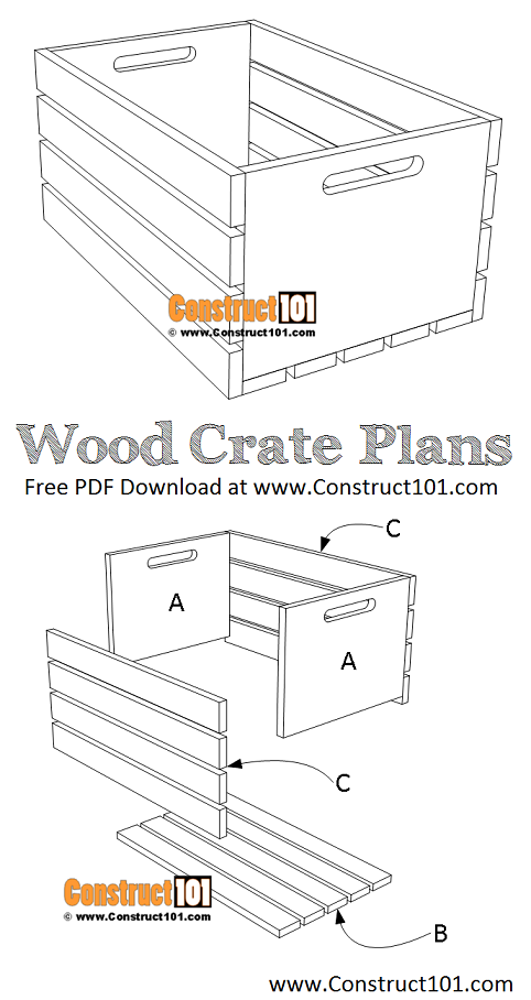 Wood crate plans - free PDF download, material list, measurements, and drawings. Free DIY projects at Construct101.
