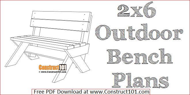 Groovy 2X6 Outdoor Bench Plans Construct101 Creativecarmelina Interior Chair Design Creativecarmelinacom