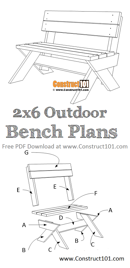 2x6 outdoor bench plans - free PDF download, material list, DIY projects at Construct101.