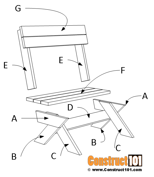 2x6 outdoor bench plans - material list.