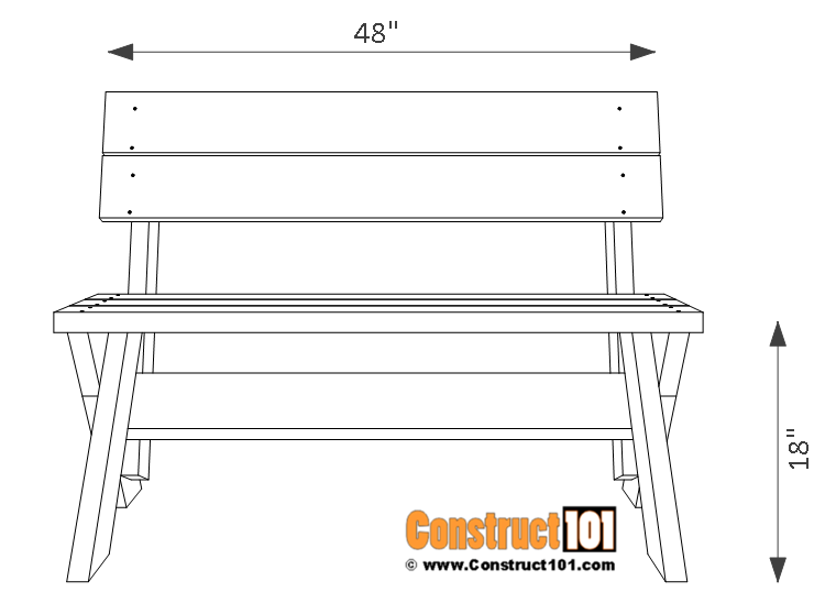 Prime 2X6 Outdoor Bench Plans Construct101 Creativecarmelina Interior Chair Design Creativecarmelinacom