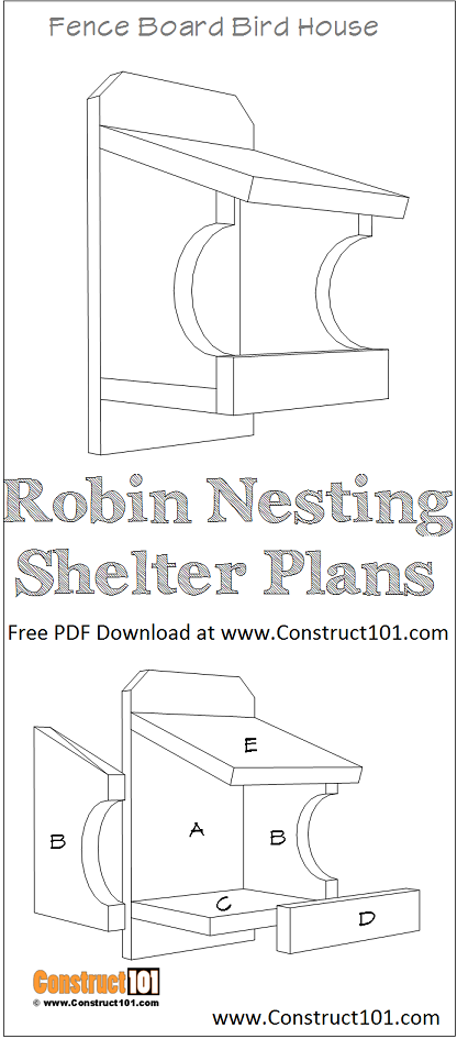 Robin nesting shelter plans - free PDF downloads, DIY projects at Construct101