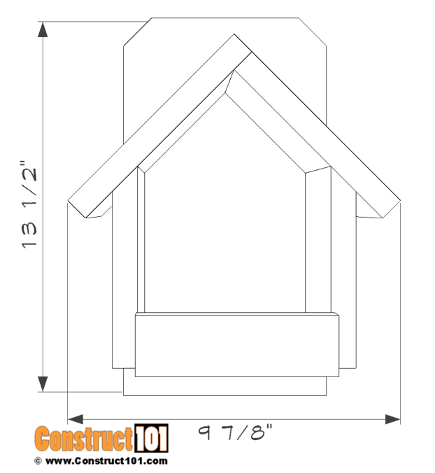 Cardinal bird house plans - front view.