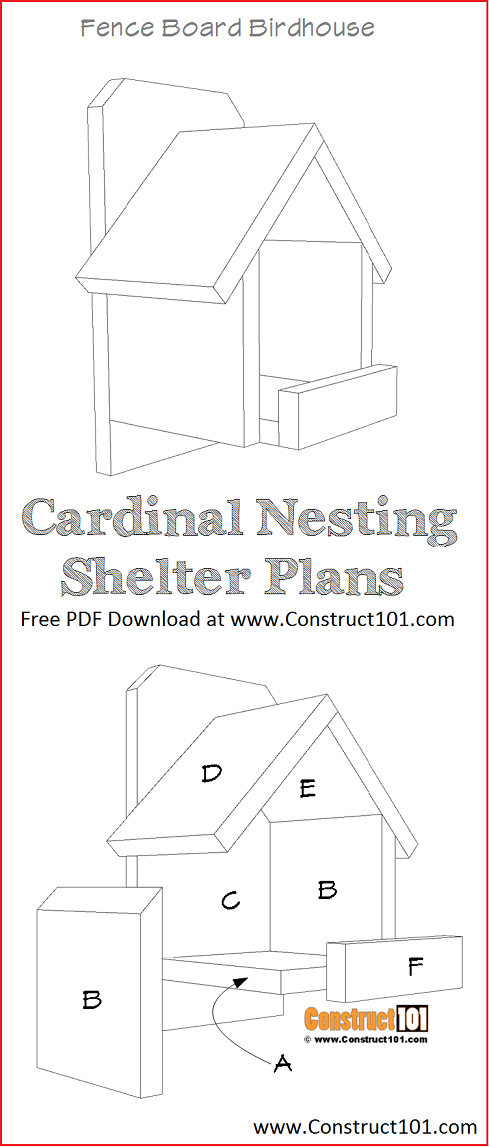 Cardinal nesting shelter bird house plans - free PDF download, material list, DIY at Construct101.
