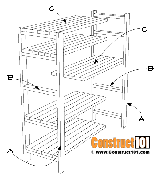 DIY 2x4 storage shelves, exploded view - material list.