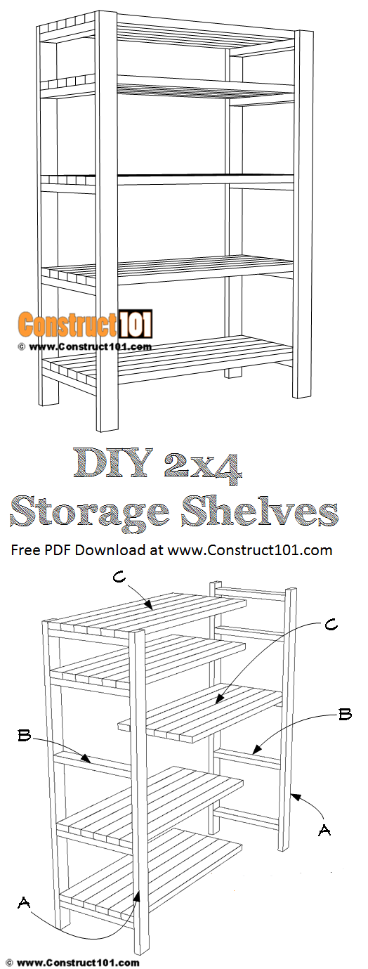 DIY 2x4 storage shelves, free plans, PDF download.