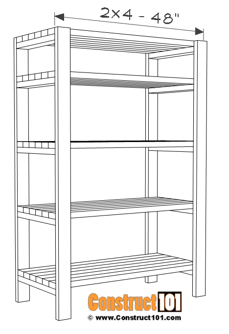 2x4 Storage shelf plans, shelf assembly.