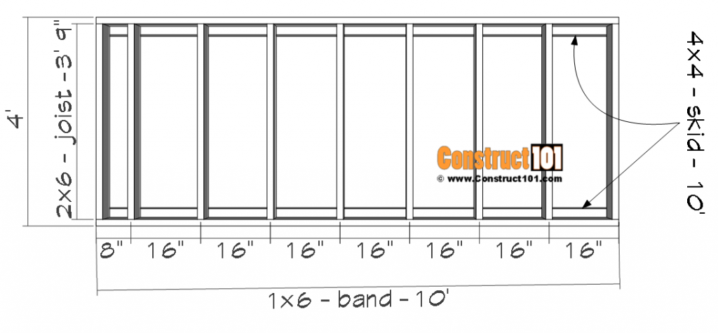 4x10 lean to shed, floor frame details.
