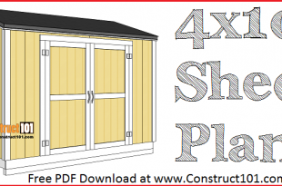 4x10 lean to shed plans free PDF download at Construct101