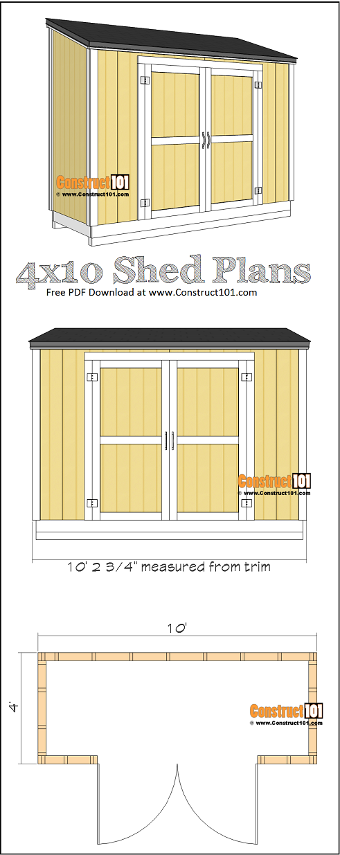 4x10 lean to shed plans - free PDF download, material list, drawings, at Construct101