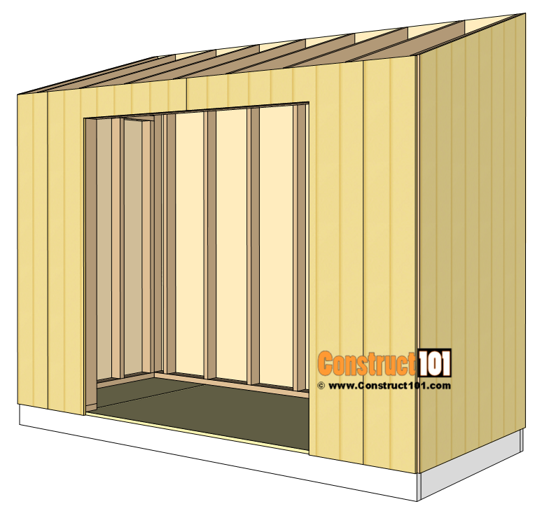 Lean to shed plans. T1-11 exterior siding installation.