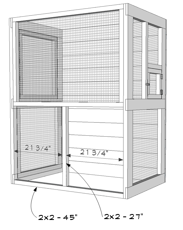 Outdoor aviary bird cage plans - front door frame assembly.