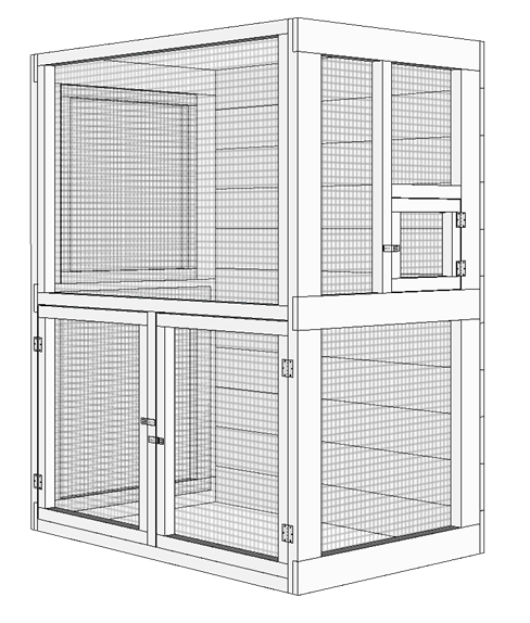 Outdoor aviary bird cage plans - front door installation.