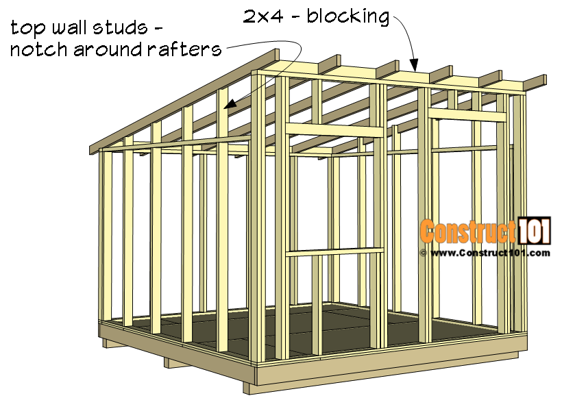 10x10 lean to shed plans - 2x4 blocking, top wall studs.