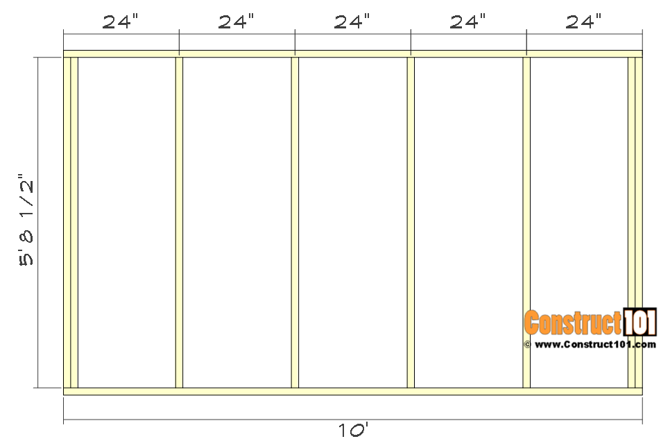 10x10 lean to shed plans - back wall framing.