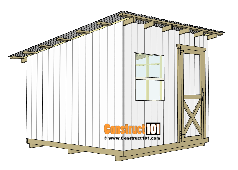 10x10 lean to shed plans - door.