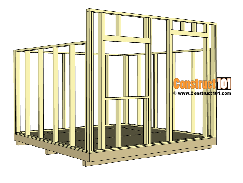 10x10 lean to shed plans - wall framing.