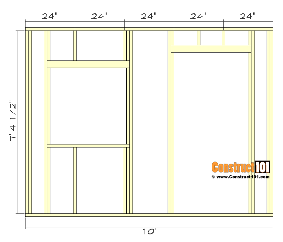 10x10 lean to shed plans - front wall framing.