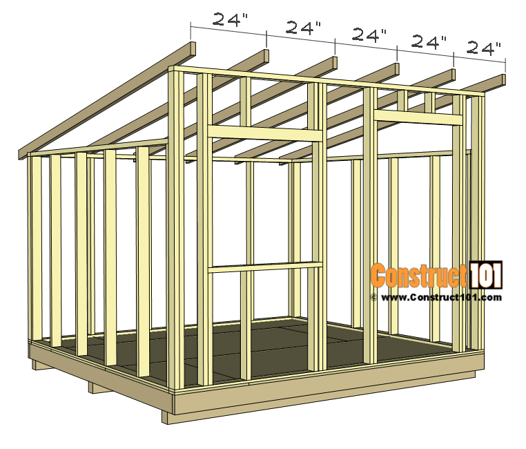 10x10 lean to shed plans - rafters 24 inches on center.
