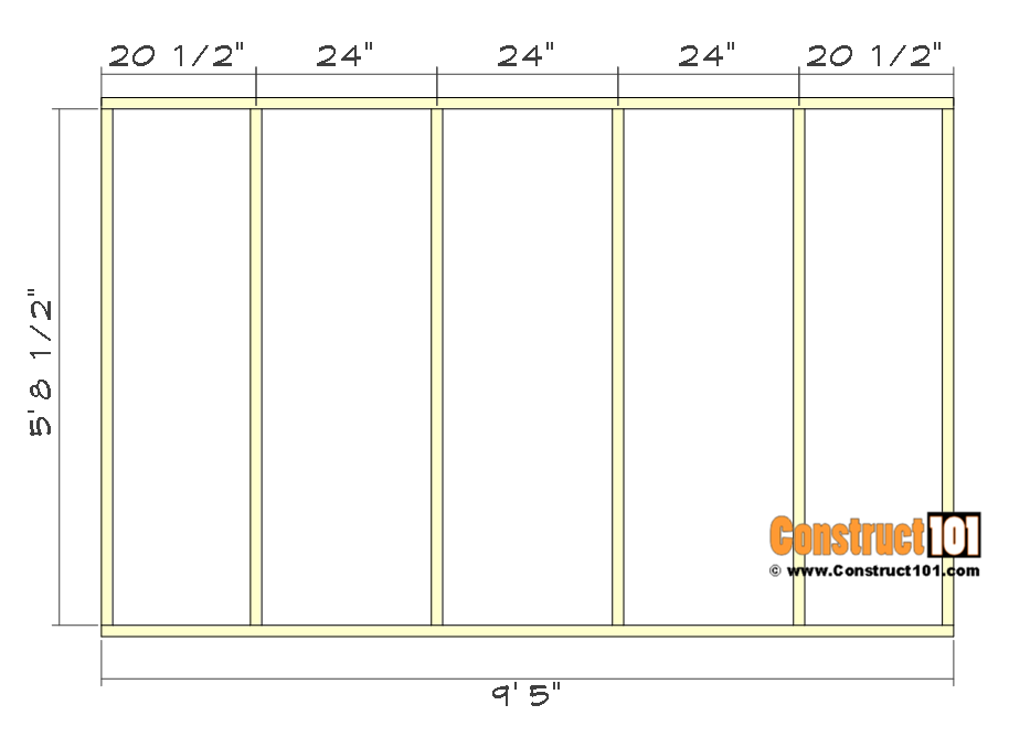10x10 lean to shed plans - side wall framing.