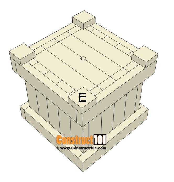 2x4 planter box plans - attach feet part E.