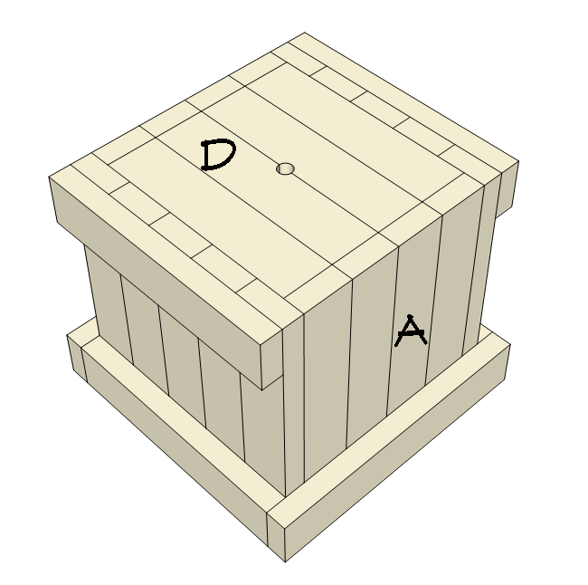 2x4 planter box plans - attach bottom part D.