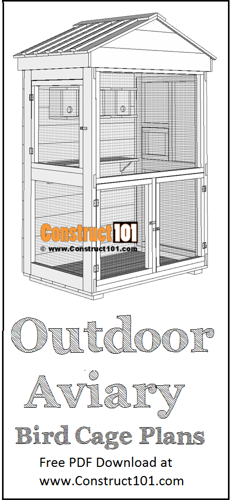 Outdoor aviary bird cage plan, free PDF Download, material list.