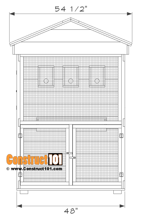 Outdoor aviary bird cage plans - front view.