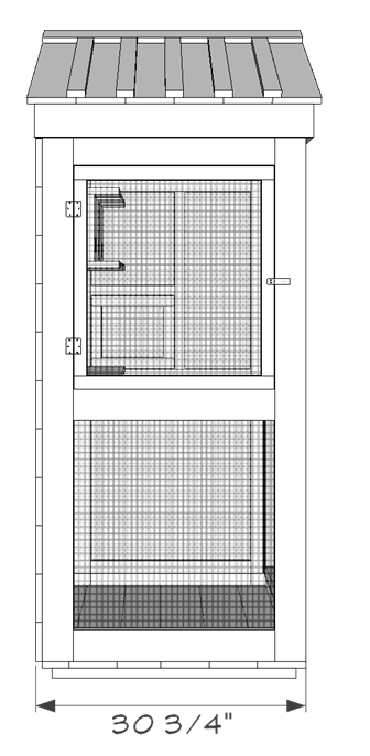 Outdoor aviary bird cage plans - left view.