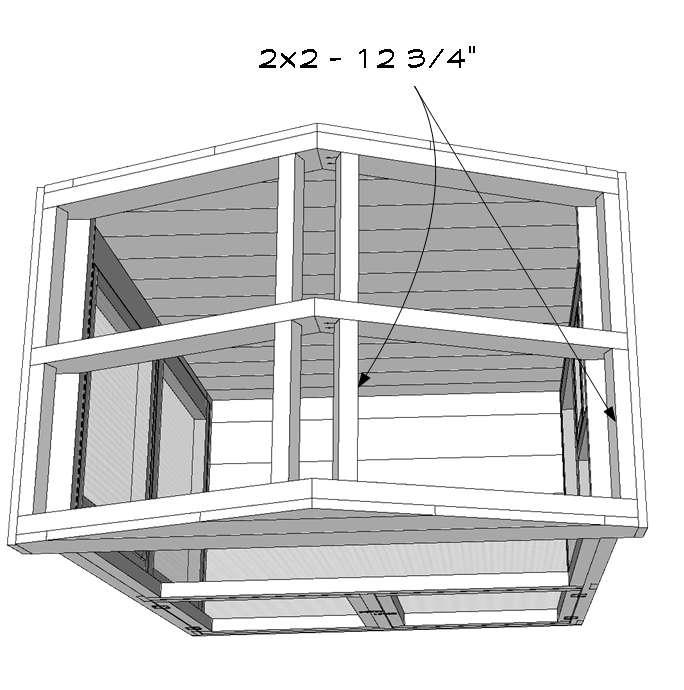 Roof board 2x2 supports.