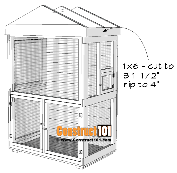 Outdoor aviary bird cage plans, roof trim.