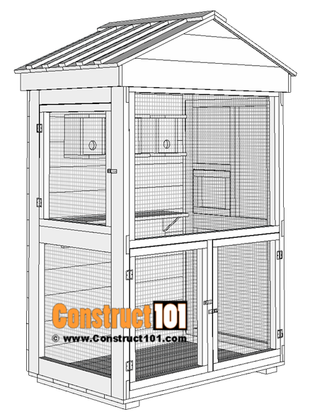 Outdoor aviary bird cage, free plans.