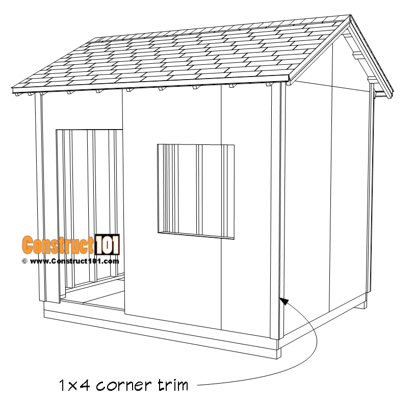 DIY 8x10 gable shed - 1x4 corner trim.