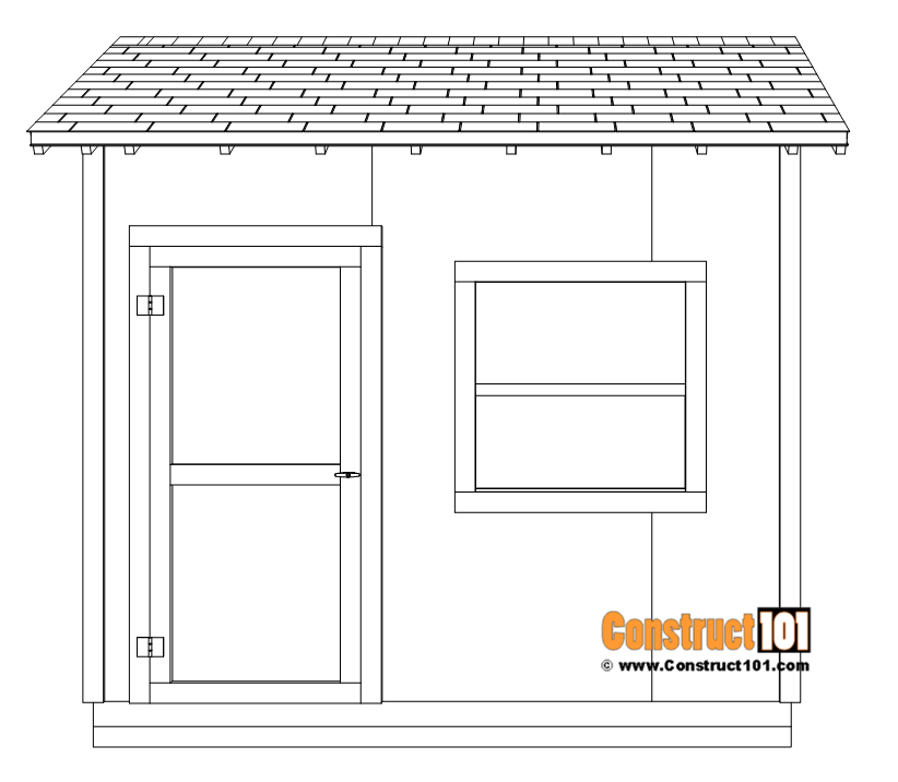 DIY 8x10 gable shed - door and window.