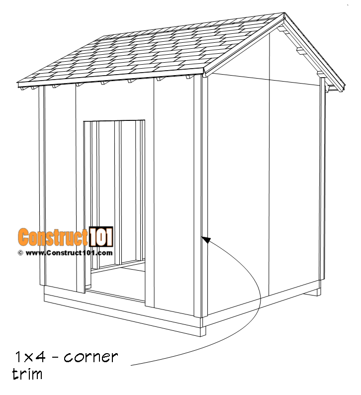 DIY 8x8 gable shed, corner trim.