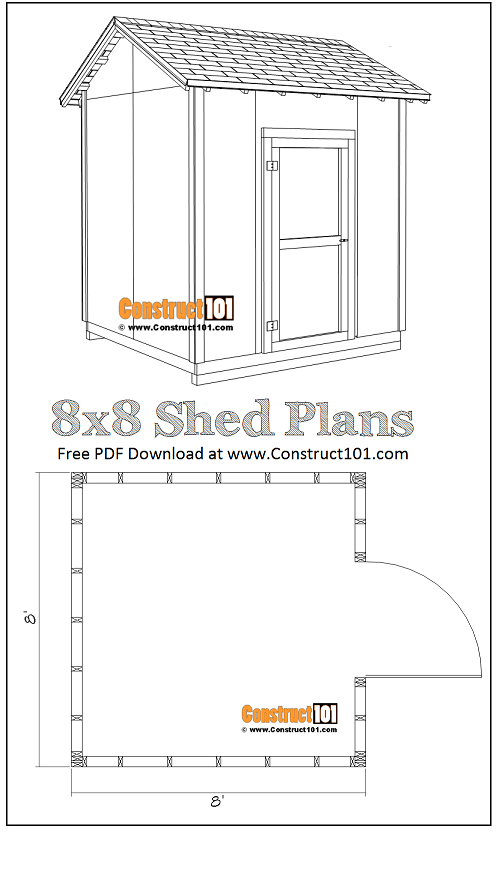 DIY 8x8 gable shed, free PDF download, and material list.