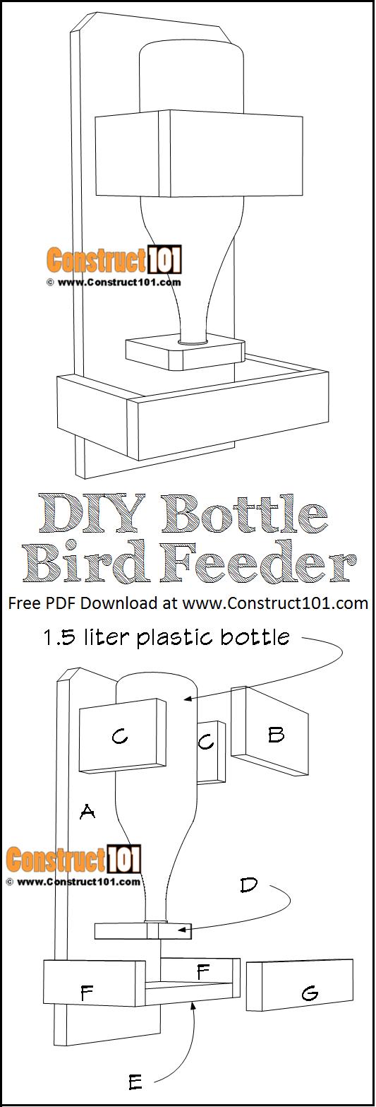DIY bottle bird feeder, free plans, PDF download.