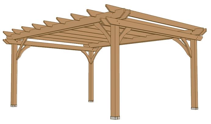 12x16 pergola plans, top rafter beams and corner brace.