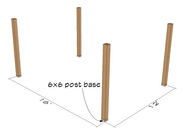 6x6 post beam installation details.
