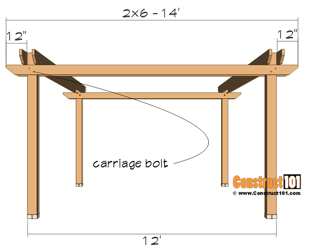 12x16 pergola plans, side beam supports.