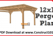12x16 pergola plans, free PDF download.