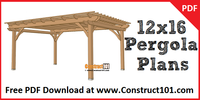 12x16 pergola plans, free PDF download.