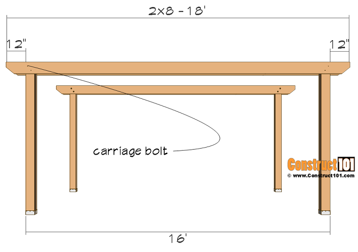 12x16 pergola plans, front and back 2x8 beam installation.