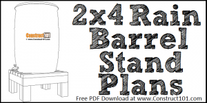 2x4 rain barrel stand plans, free PDF download, DIY projects.