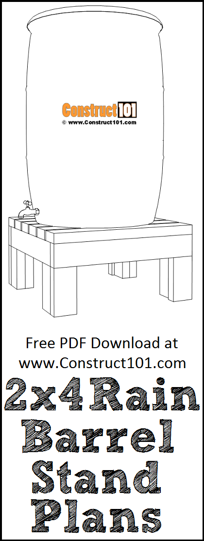 2x4 rain barrel plans, free PDF download, material list, DIY projects.