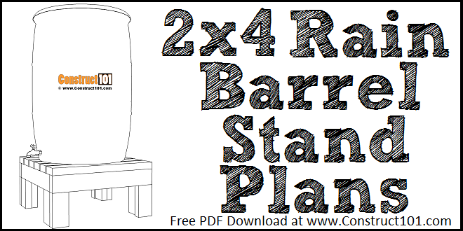 2x4 rain barrel stand plans, free PDF download, DIY projects.