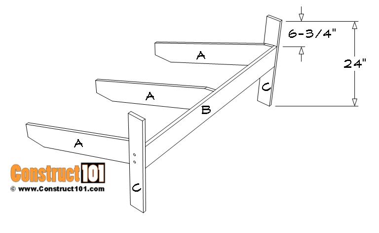 Adirondack bench plans, frame details.