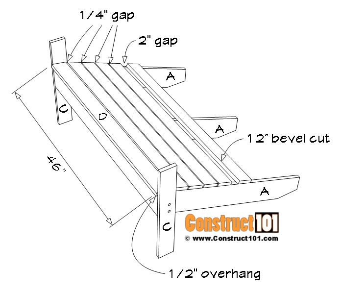 Adirondack bench plans, seat slat installation details.