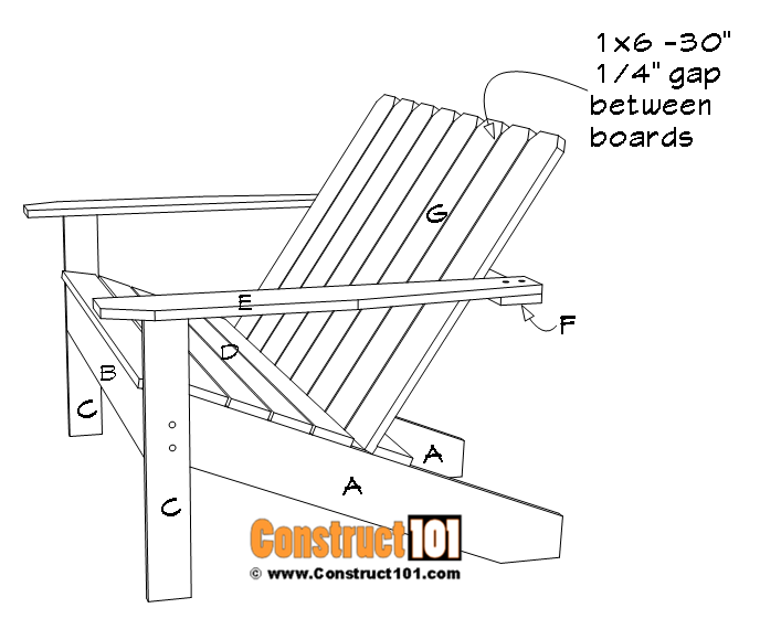 Adirondack bench plans, Back rest slat installation.