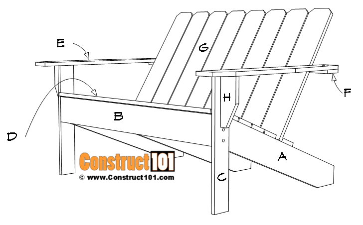 Adirondack bench plans, free PDF download, material list, drawings.